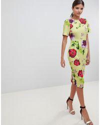 ASOS - Yellow Floral Midi wiggle Dress - Lyst