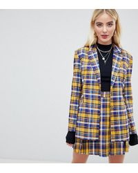 UNIQUE21 Oversized Blazer In Check Two-piece - Yellow