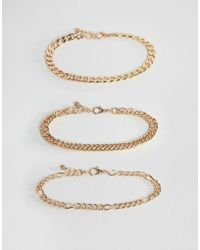 ASOS - Vintage Style Bracelet Chain Pack In Gold Tone - Lyst