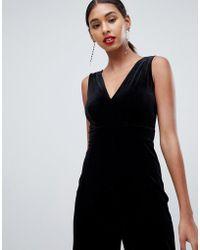 TFNC London - Velvet Jumpsuit With Lace Back Insert In Black - Lyst