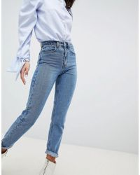 Lost Ink - Slim Mom Jeans In Lightwash Denim - Lyst