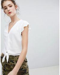 Bershka - Tie Front Button Sleeve Blouse In Cream - Lyst