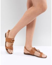 ALDO - Two Part Flat Sandal With Metal Detail - Lyst