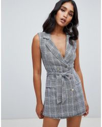 Lipsy - Tux Playsuit In Monochrome Check - Lyst