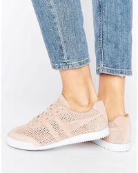 Gola - Harrier Blush Pink Perforated Suede Trainers - Lyst