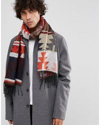 ASOS - Blanket Scarf In Rust Aztec Design - Lyst