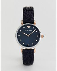 Emporio Armani - Ar1989 Leather Watch In Navy - Lyst