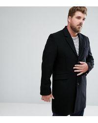 ASOS DESIGN - Asos Plus Wool Mix Overcoat In Black - Lyst