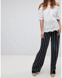 Esprit - Stripe Wide Leg Trousers - Lyst