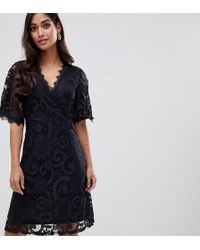Yumi' Lace Dress With Wrap Front And Kimono Sleeves - Black