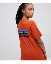 Patagonia - Oversized P-6 Logo Organic T-shirt In Orange - Lyst