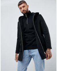 ASOS - Wool Mix Hooded Overcoat In Black - Lyst