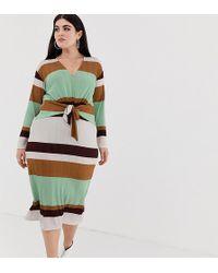 ASOS - Asos Design Curve 70s Stripe Rib Midi Dress With Knot Front - Lyst