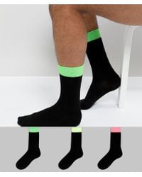 ASOS - Socks In Black With Neon Contrast Welts 3 Pack - Lyst