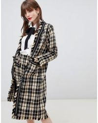 Darling Textured Checked Longline Jacket
