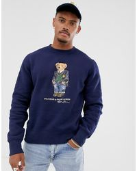 Polo Ralph Lauren Marineblaues Sweatshirt mit Bären-Print