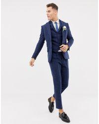 ASOS - Wedding Slim Suit Jacket In 100% Wool Harris Tweed In Navy Twill - Lyst