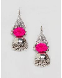ASOS - Design Engraved Metal And Pom Festival Earrings - Lyst