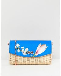 Ted Baker - Straw Clutch Bag In Harmony Floral - Lyst