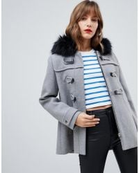 Stradivarius - Duffle Coat With Faux Fur Hood - Lyst