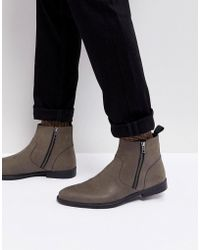 ASOS - Chelsea Boots In Gray Leather With Distressed Sole - Lyst