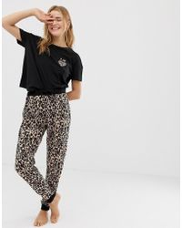 New Look - Amour Animal Pyjama jogger Set In Black Pattern - Lyst