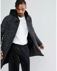 ASOS - Wool Mix Trench With Jersey Hood In Grey Texture - Lyst