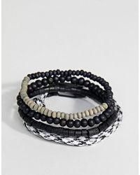 Icon Brand - Black Cord & Beaded Bracelet In 4 Pack Exclusive To Asos - Lyst