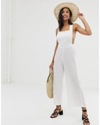 Fashion Union - Fiesta White Beach Jumpsuit In White - Lyst