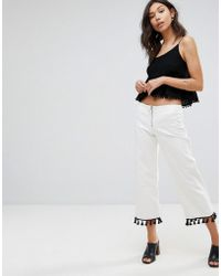 Mango - Slim Fit Cropped Trousers - Lyst