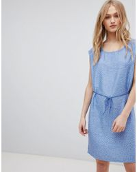 Blend She - Mally Denim Belted Print Dress - Lyst