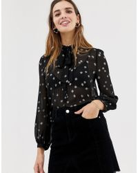 Jack Wills Metallic Detail Tie Neck Blouse - Black