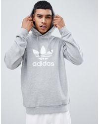 5843e1ef2fdc adidas Originals - Adicolor Pullover Hoodie With Trefoil Logo In Grey  Cy4572 - Lyst