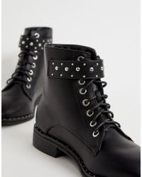 Pimkie - Studded Lace Front Hiker Boot In Black - Lyst