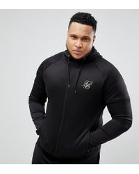 SIKSILK - Plus Track Hoodie In Black With Gold Logo Exclusive To Asos - Lyst