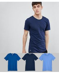 Lacoste - Essentials T-shirts 3 Pack In Slim Fit - Lyst