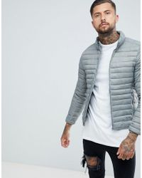 Pull&Bear - Quilted Jacket In Grey - Lyst