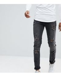 ASOS - Tall Skinny Jeans In 12.5oz With Mega Rips In Washed Black - Lyst