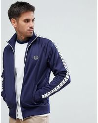 Fred Perry - Sports Authentic Taped Track Jacket In Navy - Lyst