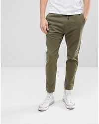 Hollister | Cuffed Twill Stretch Jogger In Forest Night Olive | Lyst