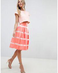 Vesper - Stripe Skater Skirt - Lyst