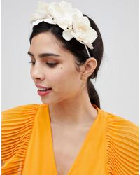 ASOS - Occasion Cream Faux Leather Floral Headband - Lyst