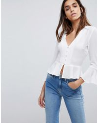 Missguided - Button Detail Peplum Blouse - Lyst