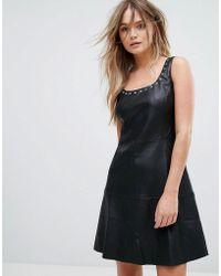 Mango - Leather Look Eyelet Detail Dress - Lyst