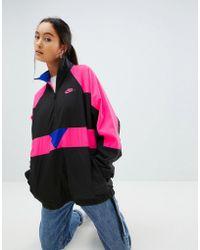 Nike - Vaporwave Oversized Wave Half Zip Track Jacket In Black With Colour Block - Lyst