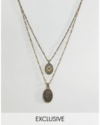 Reclaimed (vintage) - Inspired Layered Necklace With Coins In Burnished Gold Exclusive At Asos - Lyst
