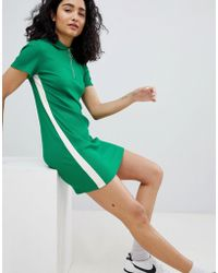 Bershka - Zip Detail Polo Dress In Green - Lyst