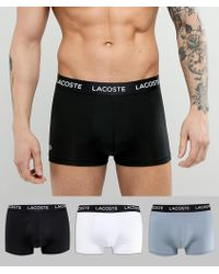 Lacoste - Colours Trunks 3 Pack In Microfibre - Lyst