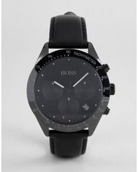BOSS - 1513590 Talent Chronograph Leather Watch In Black - Lyst