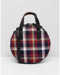 Warehouse - Mini Circle Across Body Bag In Red Tartan - Lyst